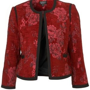 Topshop size 8 red tapestry floral velvety jacket